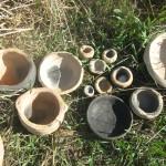 כלי חימר  בשריפה טבעית מחומר מקומי
